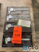 Lot of (4) stainless dial calipers, including (2) Mitutoyo MN 505-675, (1) Brown and Sharpe 599-