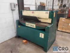 National 58 inch X 1/4 inch capacity soft metal shear, with foot pedal control, 3 phase