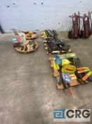 Lot of assorted rigging, strapping, and hoisting equipment, including (6) lengths of chain, (1)