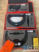 Lot of (3) Starrett outside micrometers, including (1) 5-6 inch (1) 4-5 inch (1) 2-3 inch