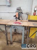 Delta 12 inch radial arm saw, 1 1/2 hp, 3450 rpm, with infeed and outfeed tables