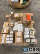 Lot of assorted spare parts, including Wilkerson regulators, Ashcroft gauges, Asco red hat valves,