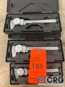 Lot of (3) Mitutoyo stainless dial calipers, including (2) MN 505-742, and (1) MN# 505-675