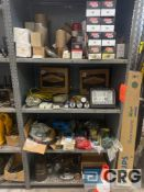Lot of assorted pneumatic pieces, machine parts, small electrical items, lights, oil filters, copper