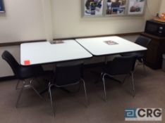 Lot of breakroom furniture including (4) 42 inch X 42 inch pedestal tables and (18) plastic stack