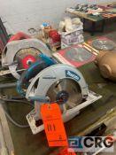 Lot of (7) hand saws and blades, including (1) Makita 8.25 in. 5008MGA magnesium circular saw with