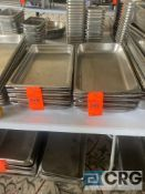 Lot of (18) 21 inch x 12.5 x 2.5 deep stainless steel shallow steam table pans