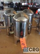Lot of (2) stainless steel 30 cup hot beverage dispensers with chafing fuel holder