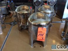 Lot of (3) stainless steel hot food warmers with chafing fuel holder (no spigot)