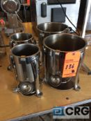 Lot of (4) hot food / topping dispensers with ladles