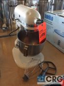 Kitchen Aid counter top mixer with accessories seen