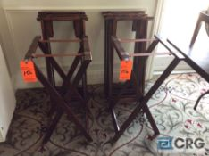 Lot of (8) wood serving tray stands