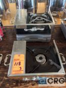 Lot of 3) portable butane gas stoves with fancy station