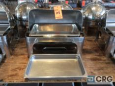 Commercial steel grade roll top chafing dish, 27 X 19 X 22 inch tall with food and water pans