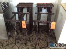 Lot of (11) wood serving tray stands