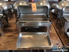 Lot of (4) commercial steel grade roll top chafing dishes, 27 X 19 X 22 inch tall with food and