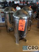 Lot of (3) stainless steel hot food warmer with chafing fuel holder (no spigot)