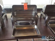 Lot of (2) commercial steel grade roll top chafing dishes, 27 X 19 X 22 inch tall with food and