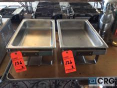 Lot of (2) matching chafing dishes with brass accents and insert pan