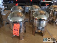 Lot of (4) stainless steel hot food warmers with chafing fuel holder (no spigot)