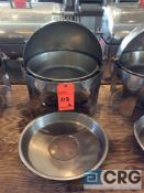 Lot of (2) commercial steel grade roll top chafing dishes, 19 inch diameter X 20 inch tall with food