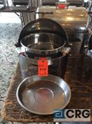 Lot of (3) commercial steel grade roll top chafing dishes, 20 inch diameter X 20 inch tall with food
