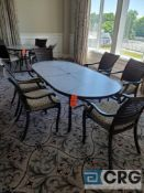 7 piece set of outdoor furniture including (6) metal chairs with cushions, and (1) 7 foot x 42 in.