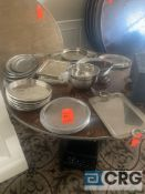 Lot of assorted metal and plastic serving trays platters, including (6) trays with a gadroon edge-