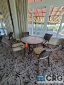 5 piece set of outdoor furniture including (4) metal chairs with cushions, and (1) table 43 in.
