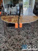 Lot of (2) pie shaped tables - 1/4 round end table