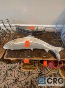 Lot of (2) decorative metal fish-shaped platters 3 feet long