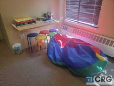 Lot of kids bean bag chairs, stools and asst games and activities