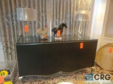 Lot of (5) items including 4-door server hutch with glass top 81 inches X 25 X 43 tall, (2) glass-