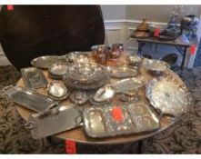 Lot of assorted punch bowls with plastic scoops, silver plated trays, copper serving cups, glassware