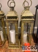 Lot of (4) decorative candle lanterns 7 inch X 7 base and 26 inches tall