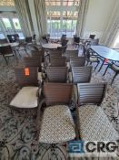 Lot of (11) assorted metal chairs with cushions including (8) with arm rests , and (3) without arm