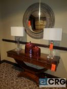 Lot of furniture including 60 inch hardwood accent table, (2) crystal lamps, wall mirror, framed