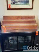 Wooden 3 tier bottle/liquor displaying shelf, 18 in. (tall) x 21 in. (deep) x 52 in. (wide)