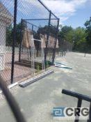 Lot of (3) large aluminum tennis court brushes, and (2) aluminum rakes