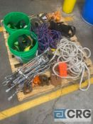 Lot of assorted rope, rigging straps, fasteners, winches, climbing safety harnesses, wire, and