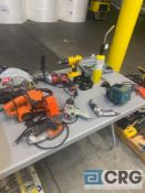 Lot of assorted power tools, pneumatic tools, batteries, and electric tool accessories, including (