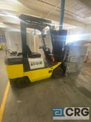 TCM FCG25 TTT forklift, solid tire, LP, 3350 capacity, 3-stage 171 inch mast height, 3378 hours,