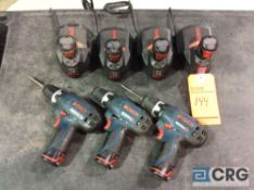 Lot of (3) Bosch PS30 12V cordless drills with (4) chargers