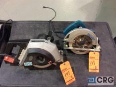 Lot of (2) asst 7 1/4 inch circular saws including Makita 5007NB and Hitech Evolution 180 metal