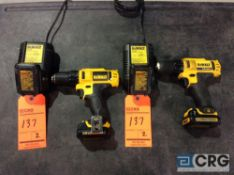 Lot of (2) DeWalt DCD710 3/8 inch cordless drill / driver with chargers and spare batteries
