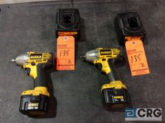 Lot of (2) DeWalt 12V DW051 heavy duty 3/8 inch cordless impact guns with chargers