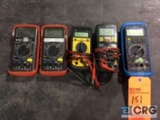 Lot of (5) asst multimeters including (2) Triplett 9000, (1) Ideal 61-360, (1) Craftsman 81079