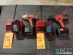 Lot of (2) Milwaukee cordless tools including 0612-20, 14.4 1/2 inch cordless drill and 9082-20,