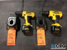 Lot of (2) DeWalt DC727 3/8 inch VSR cordless drill / driver with chargers