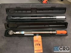 Lot of (2) asst 1/2 drive torque wrenches, including (1) Snap On CDI 22 inch 2503MFRMH-CDI torque